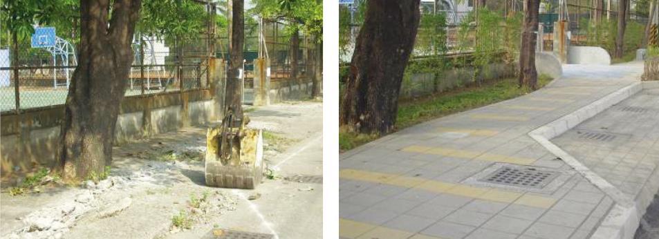 原本缺乏防護的通學路線,設置實體人行道保障學童安全