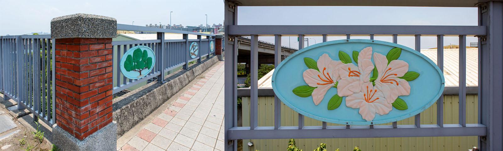 舊社橋的橋護欄設計上,融合新竹市政府的紅磚、市樹松柏、市花杜鵑、市鳥喜鵲等,讓市民倍覺親切