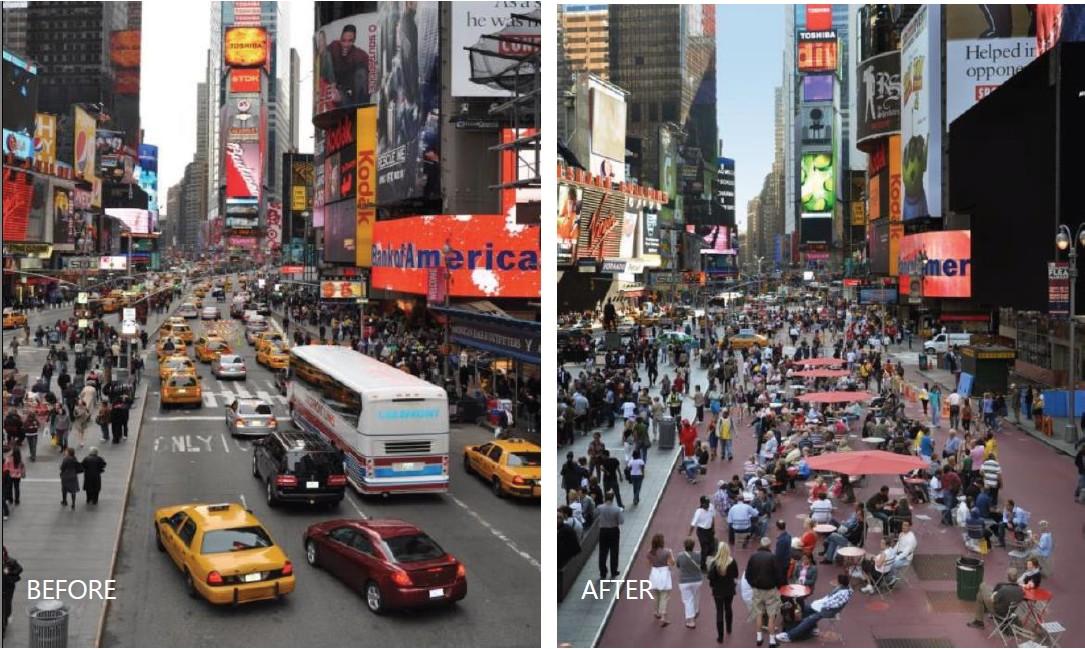 紐約時代廣場街道改造前後比較(一)