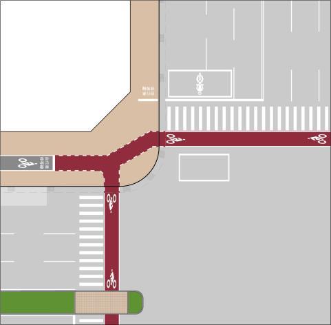 共用人行道路口配置(單向劃設自行車道)