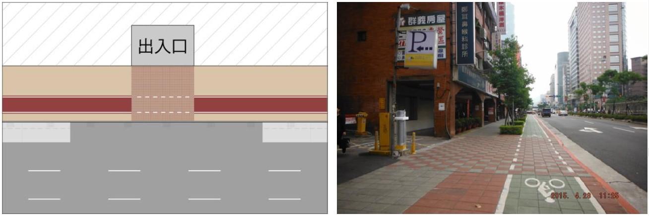共用人行道路口配置(出入口、候車區等穿越路段)