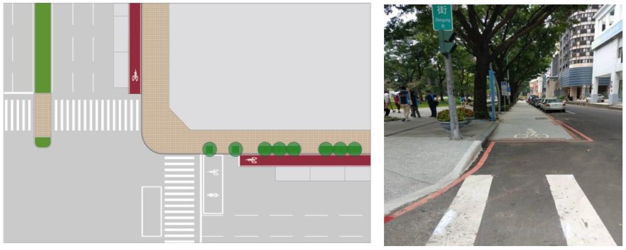 路口處自行車道分離配置圖