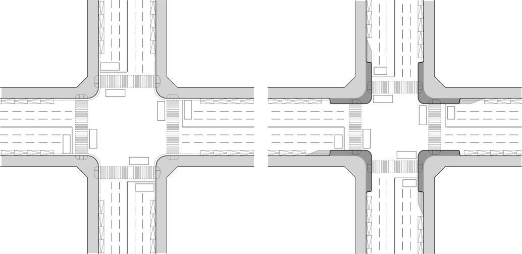 圖8-3-1 路口人行停等空間加大示意圖