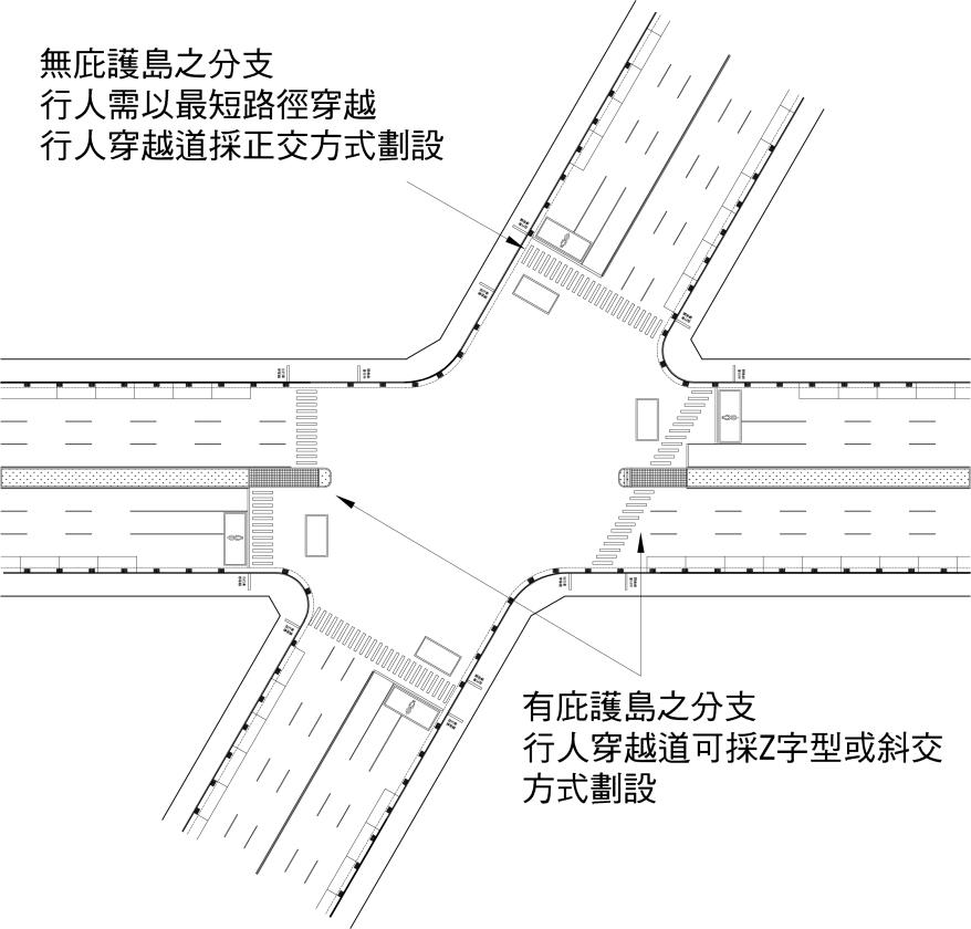 圖8-4-3 大型斜交路口配置範例