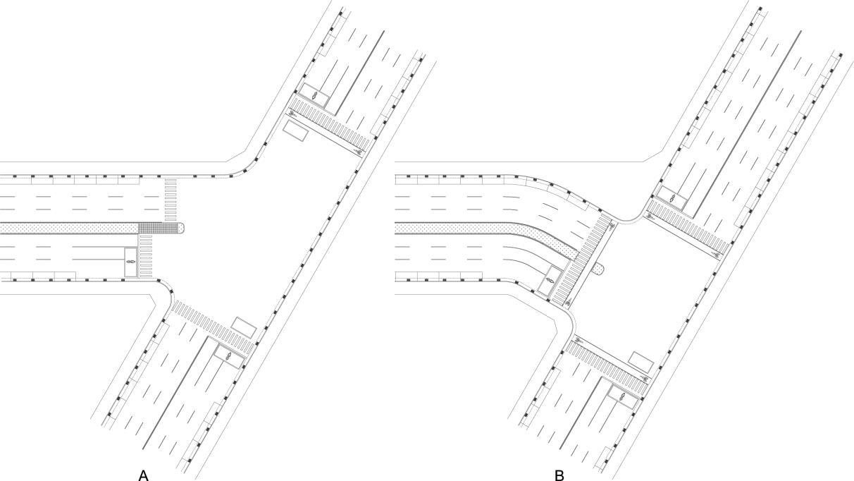 圖8-4-4 三叉斜交路口配置示意圖