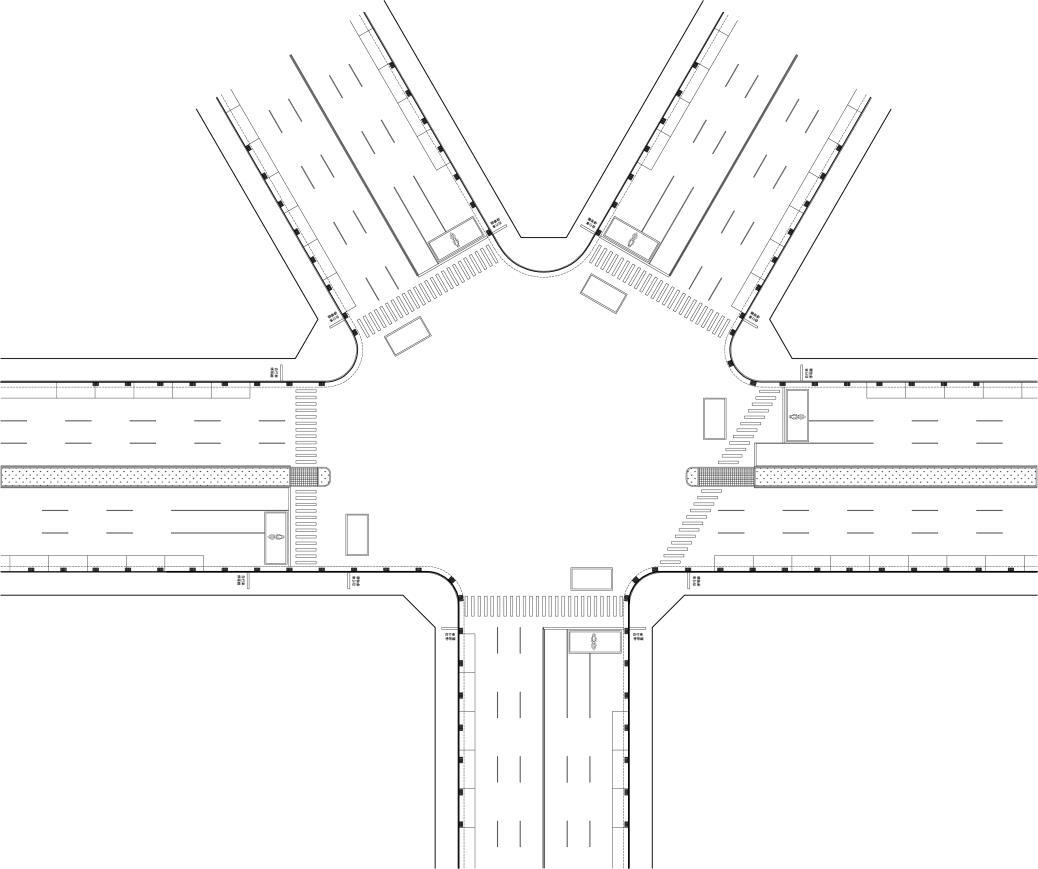 圖8-4-5 五叉斜交路口配置示意圖
