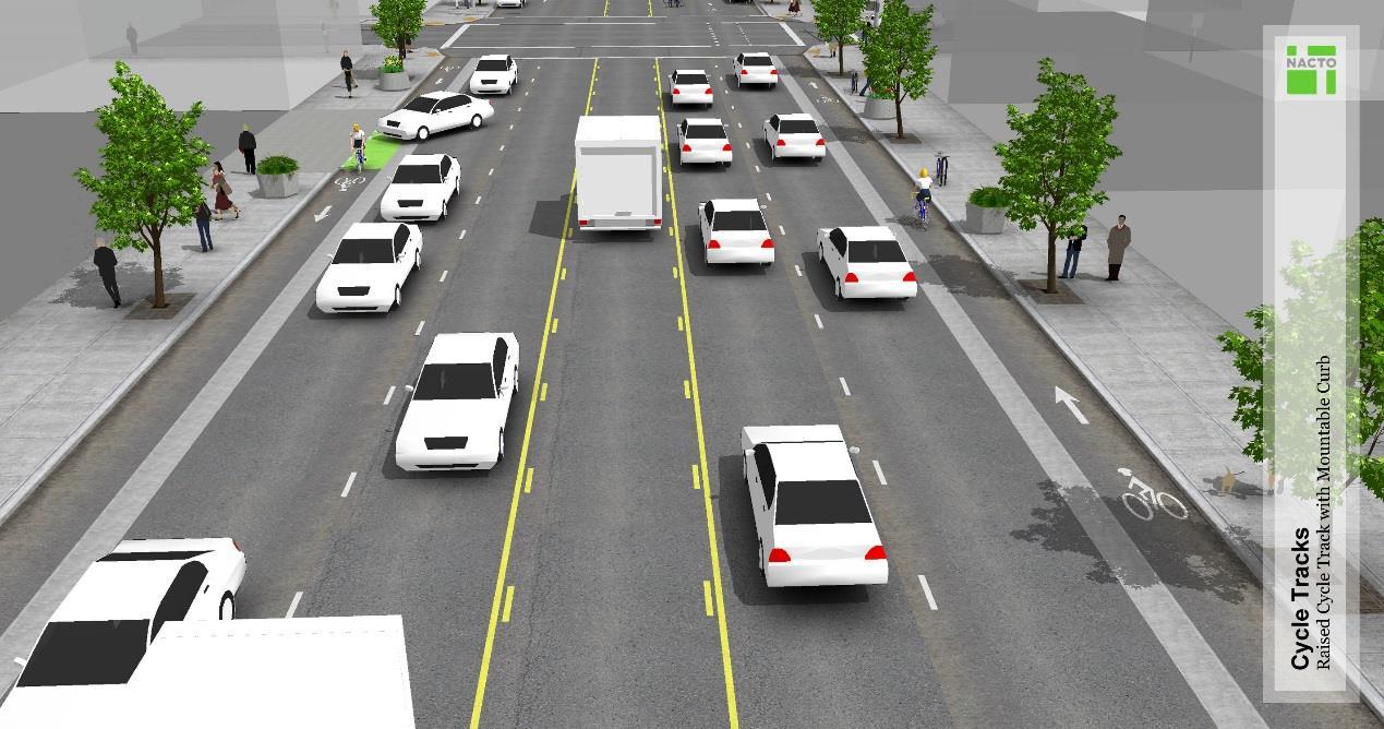 自行車道與汽車道採實體分隔