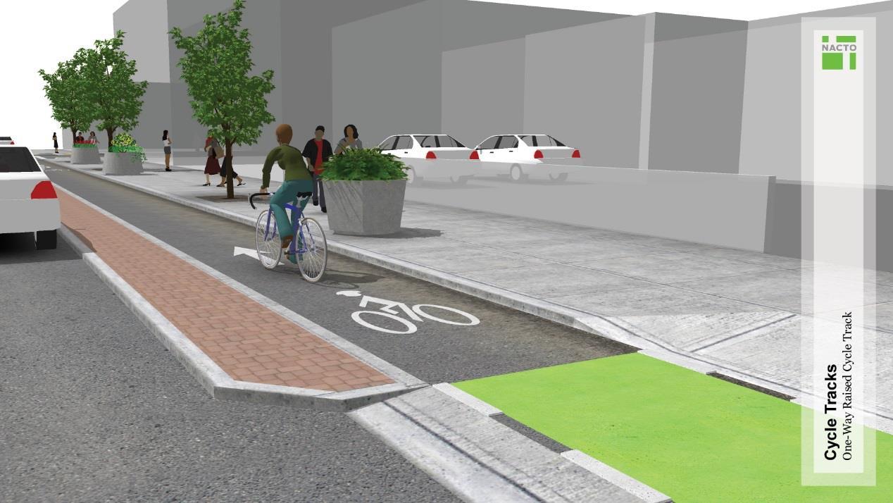 車道高程漸次提升,自行車道略高於汽車道,人行道再略高於自行車道行人穿越道位置設置短斜坡,並輔以彩色鋪面識別。
