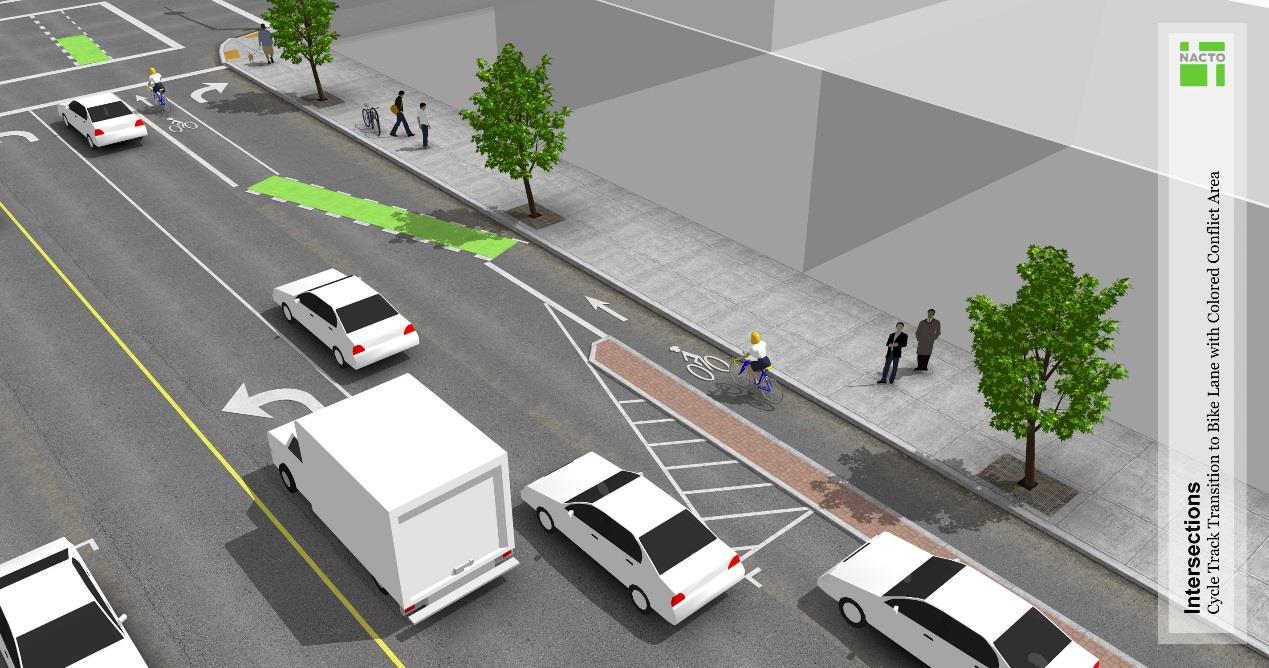 右轉車道提前於路口前段穿越自行車道,動線交織路段以彩色鋪面識別
