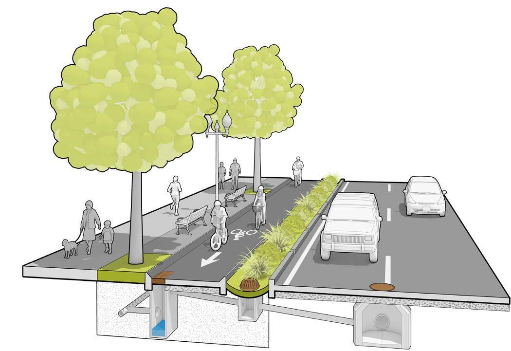 自行車專用道可結合綠色基盤設施,增加雨水入滲機會。