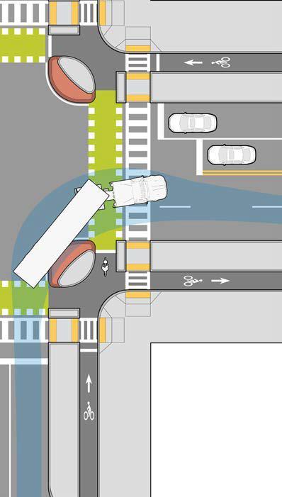 在大型車輛轉彎路口設置安全島