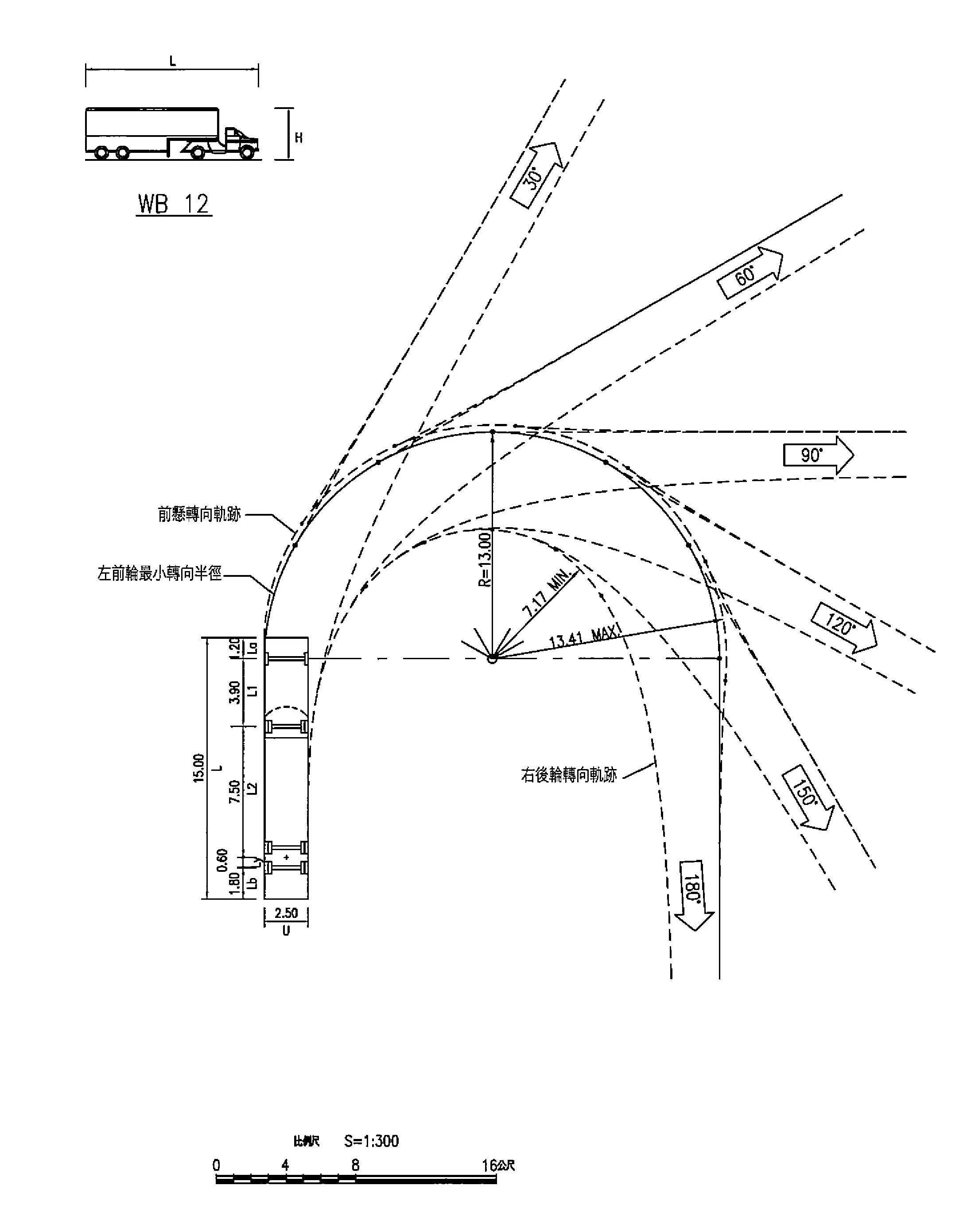 中型半聯結車最小轉向軌跡
