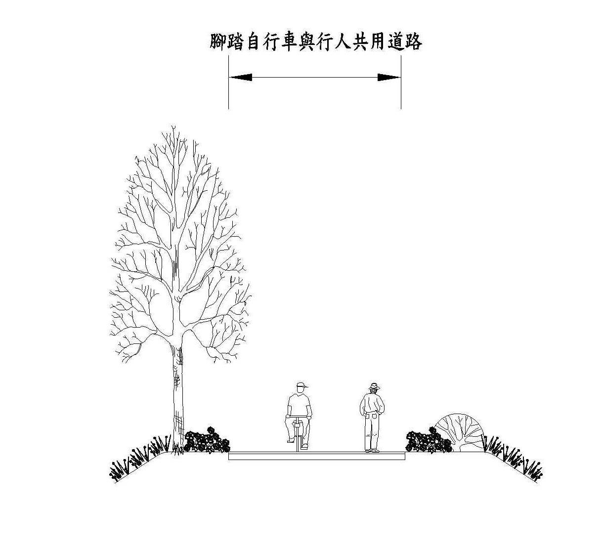 腳踏自行車與行人共用道路示意圖